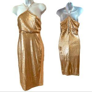 Boohoo Rosegold Sequin Midi Dress NWT Sz 6